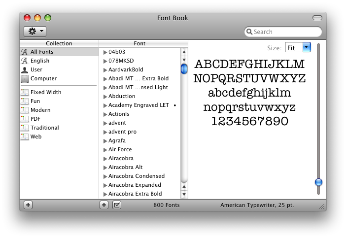 Font Book Collections default
