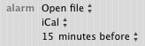 Open File, iCal options