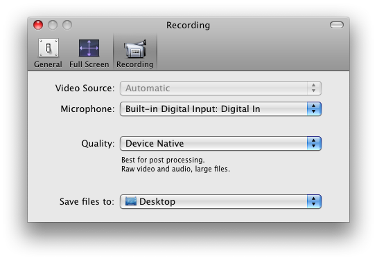 QuickTime Recording preferences